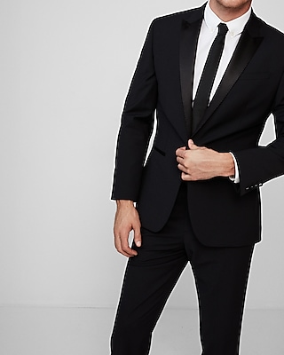 Express Mens Express Mens Classic Black Performance Stretch Wool Blend Tuxedo Jacket