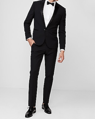 Express Mens Extra Slim Black Wool-Blend Performance Tuxedo Jacket