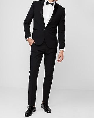 Express Mens Extra Slim Black Wool-Blend Performance Tuxedo Jacket