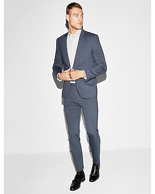 Express Mens Express Mens Extra Slim Navy Blue Windowpane Stretch Wool-Blend Suit Jacket