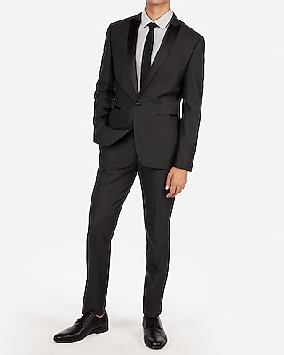 Express Mens Slim Charcoal Dobby Wool-Blend Tuxedo Jacket