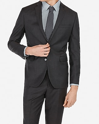 Express Mens Slim Charcoal Wool-Blend Stretch Suit Jacket Gray Men's 38 Long Gray 38 Long