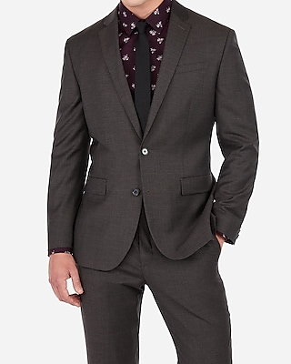 Express Mens Classic Charcoal Gray Wool-Blend Stretch Suit Jacket