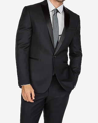 Express Mens Slim Black Dobby Wool-Blend Tuxedo Jacket