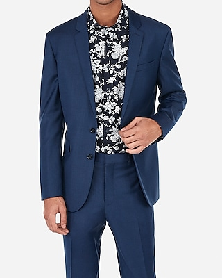 Express Mens Extra Slim Blue Wool-Blend Stretch Suit Jacket
