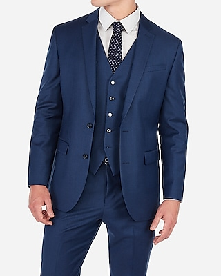 Express Mens Classic Blue Wool-Blend Stretch Suit Jacket