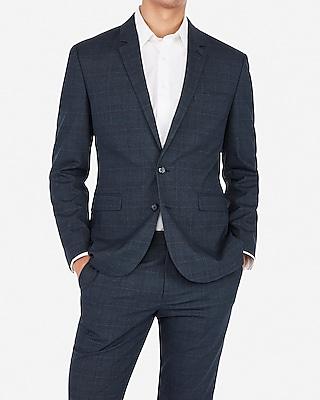 Express Mens Express Mens Extra Slim Plaid Navy Wrinkle-Resistant Stretch Suit Jacket