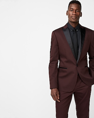 Express Mens Express Mens Slim Burgundy Satin Peak Lapel Cotton Sateen Tuxedo Jacket
