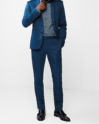 Express Mens Express Mens Extra Slim Blue Cotton Sateen Performance Stretch Suit Jacket