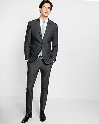 Express Mens Slim Black Cotton Blend Suit Jacket