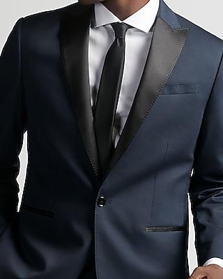 Express Mens Classic Dark Blue Cotton Sateen Suit Jacket
