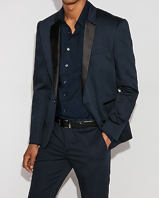 Express Mens Extra Slim Blue Satin Accent Tuxedo Jacket