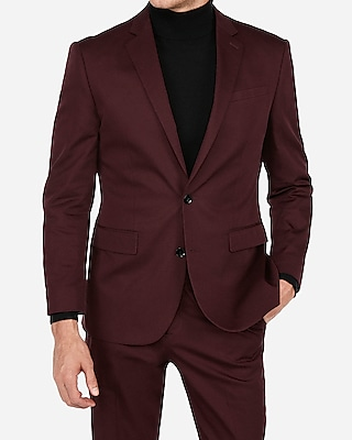 Express Mens Classic Burgundy Stretch Cotton-Blend Suit Jacket