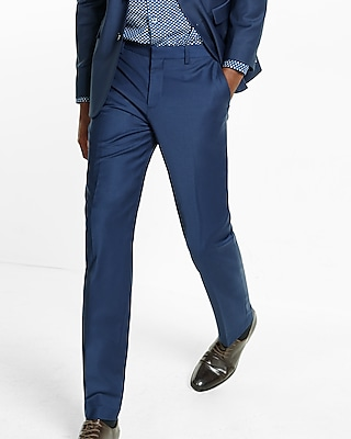 Express Mens Slim Photographer Navy Stretch Wool Blend Suit Pant