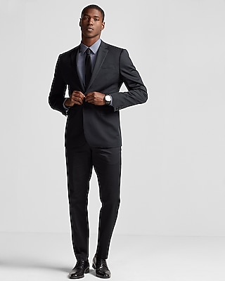 Express Mens Slim Black Cotton Sateen Suit Pant
