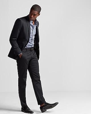 Express Mens Slim Black Cotton Sateen Suit Jacket