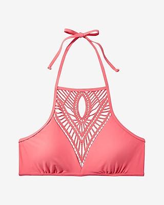 Express Womens Crochet Front Halter Bikini Swim Top Pink Large
