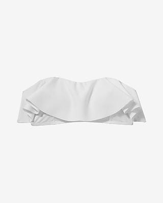 Express Womens Asymmetrical Ruffle Bandeau Bikini Swim Top