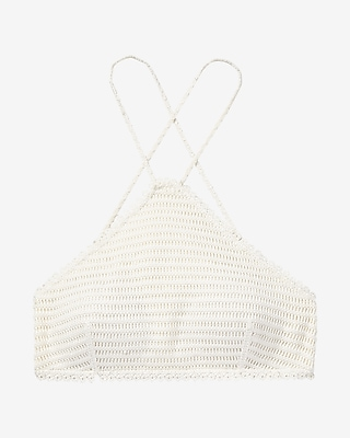 Express Womens Crochet Y-Neck Bikini Swim Top White X Small