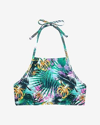 Express Womens Printed Y-Front Halter Bikini Swim Top Palm Print Small