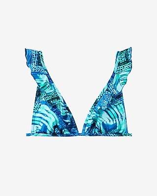 Express Womens Ruffle Strap Triangle Bikini Swim Top Blue X Small