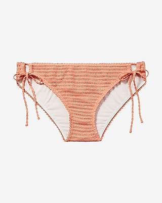 Express Womens Low Rise Crochet Bikini Bottom Orange Small