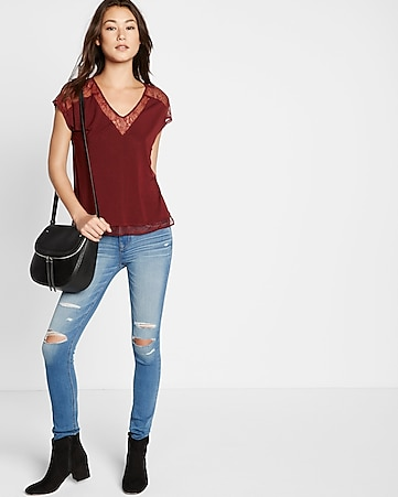 lace inset dolman sleeve blouse