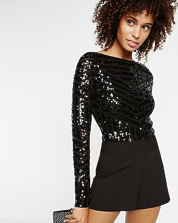 sequin front long sleeve bodysuit