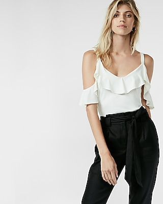 Ruffle Overlay Cold Shoulder Blouse