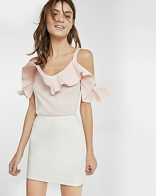 Express Womens Ruffle Overlay Cold Shoulder Blouse Pink Small