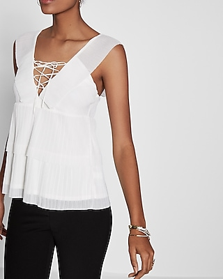 Express Womens V-Neck Ruffle Lace-Up Blouse White XX Small