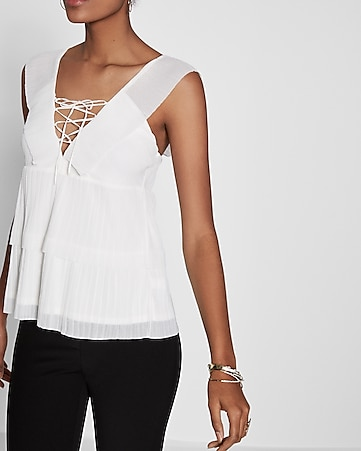 v-neck ruffle lace-up blouse