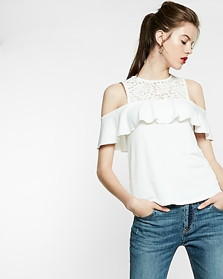 Express Womens Cold Shoulder Lace Ruffle Top