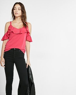 Express Womens Ruffle Overlay Cold Shoulder Blouse Red XX Small
