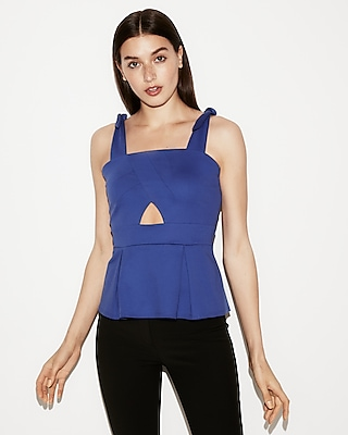 Express Womens Tie-Strap Cut-Out Peplum Tank