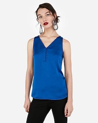 Express Womens Satin Button Front Hudson Tank Blue Women's Xs Blue XS