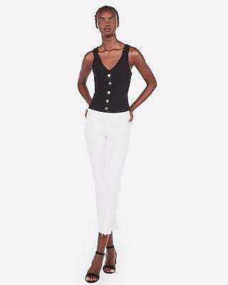 Express Womens Cropped Ribbed Button Front Tank Black Women's Xs Black Xs
