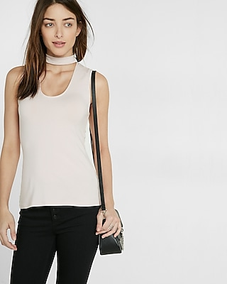 Express Womens Cut-Out Choker Tank Pink X Small