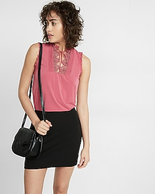 Lace Bib Front Mock Neck Tank