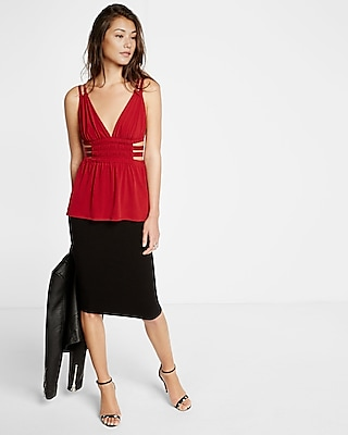 Express Womens Strappy Ruched Deep V Cami Red Large