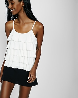 Express Womens Tiered Ruffle Cami White XX Small