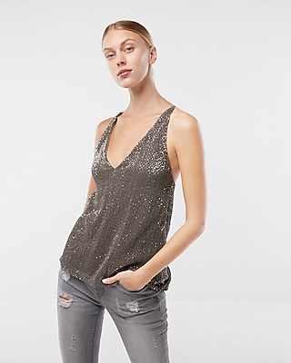 Express Womens Pleated Sequin Surplice Back Cami