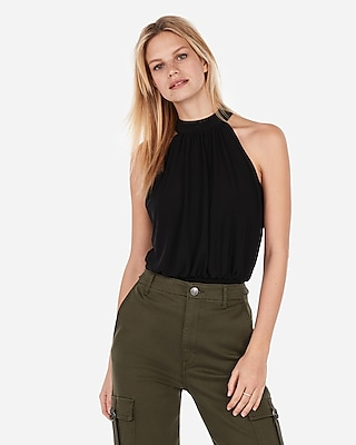 Express Womens Banded Bottom Cut-Out Back High Neck Top