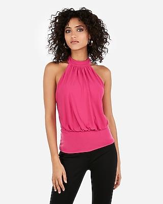 Express Womens Banded Bottom Cut-Out Back High Neck Top Pink Women's Xxs Pink Xxs