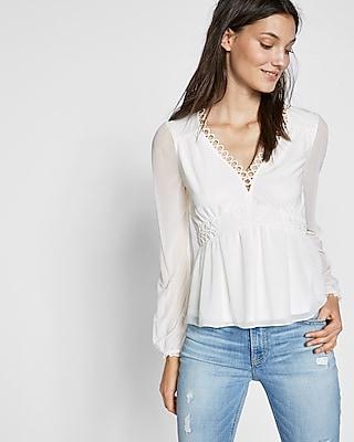 Express Womens Petite Lattice Shoulder Dolman Sleeve Blouse
