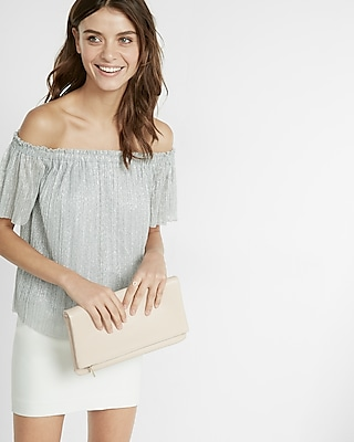 Express Womens Metallic Pleated Off The Shoulder Blouse