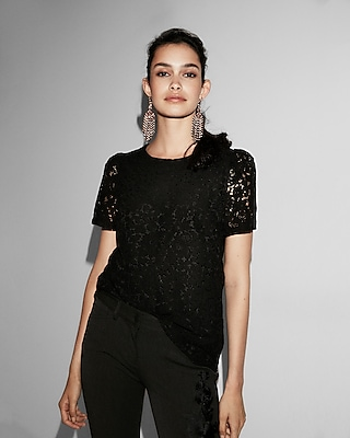 Express Womens Lace Puff Sleeve Tee