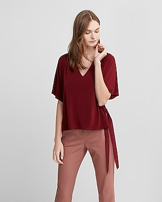 Express Womens Side Tie V-Neck Blouse