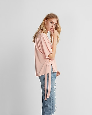Express Womens Side Tie V-Neck Blouse Pink XX Small