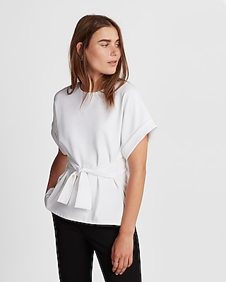 Express Womens Tie Waist Rolled Sleeve Blouse